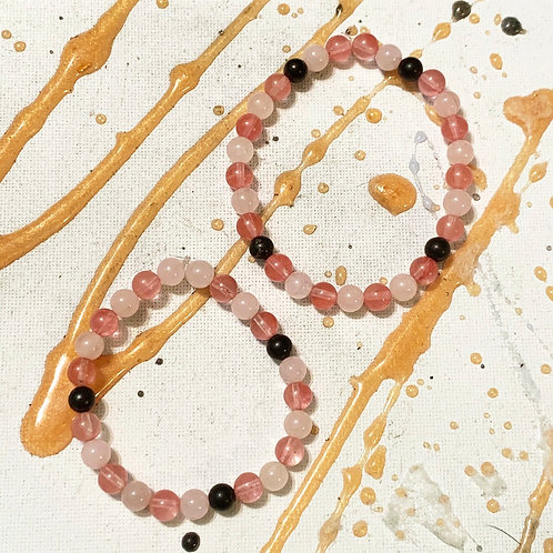 Rose Quartz, Cherry Quartz, Shungite Mommy & Me Bracelets