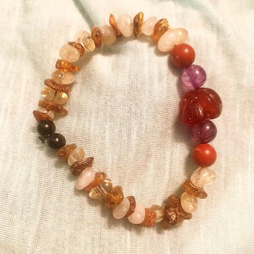 Sugar Skull Chakra Balancing Bracelet 7.5 in