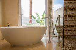 Copper bathroom - bath & shower detail