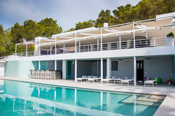 Pool & Club level - front facade elevati