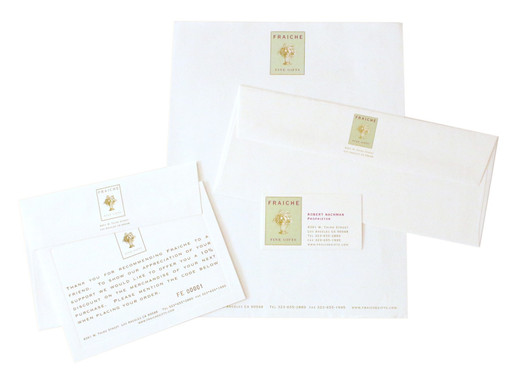 new stationary system including business card, letterhead, envelope and notecard