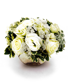 White Roses In A Mercury Glass Vase