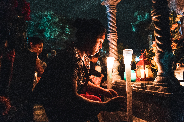 Candles at dia de muertos