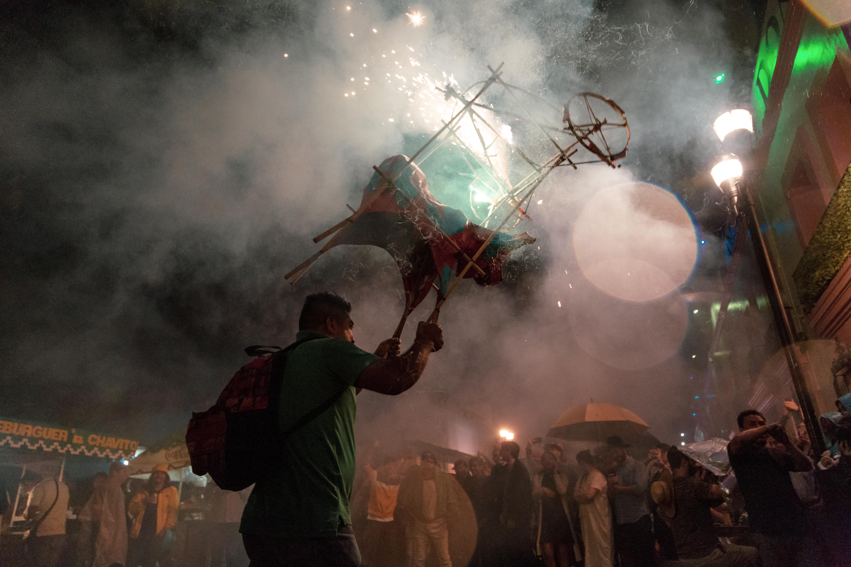 Fireworks at a plaza in Oaxaca