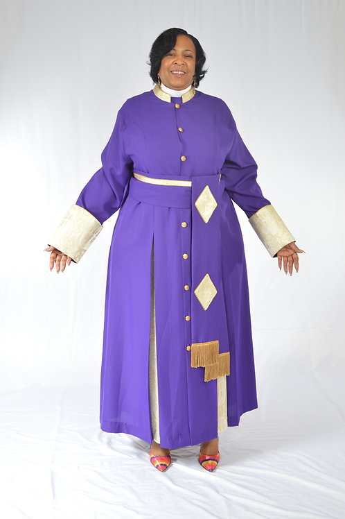 Ladies Cassock w/ brocade trim & cincture belt 2