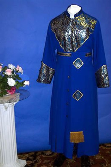 Cassock w/ brocade shield chest & cincture belt