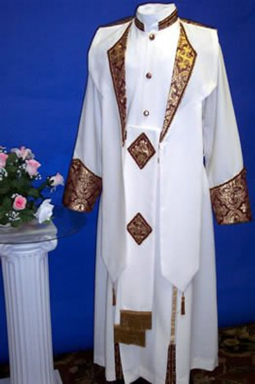 Cassock with cincture belt and carter overlay & brocade trim