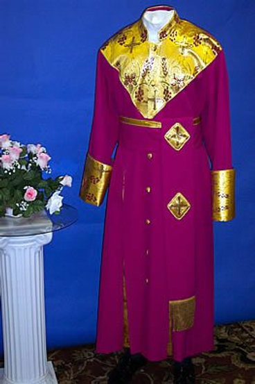 Cassock w/ brocade shield chest & cincture belt 2