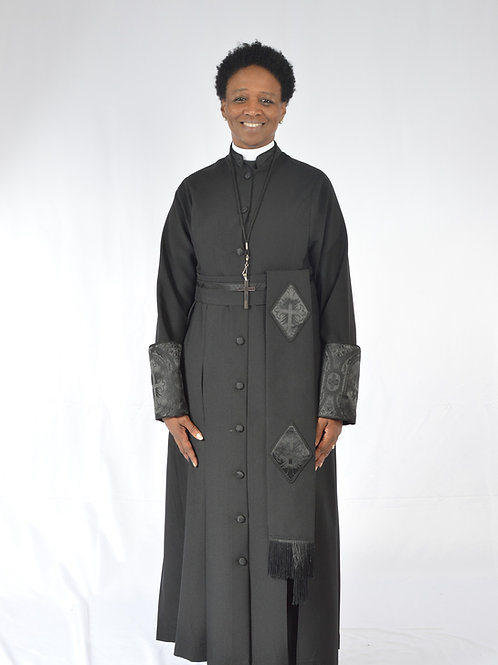 Ladies Cassock w/ brocade trim & cincture belt 4