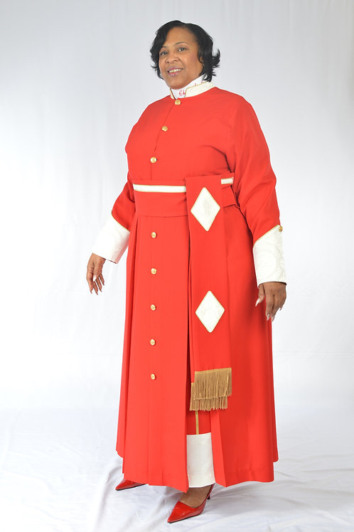 Ladies Cassock with brocade trim and cincture belt. Tippet Pleats.