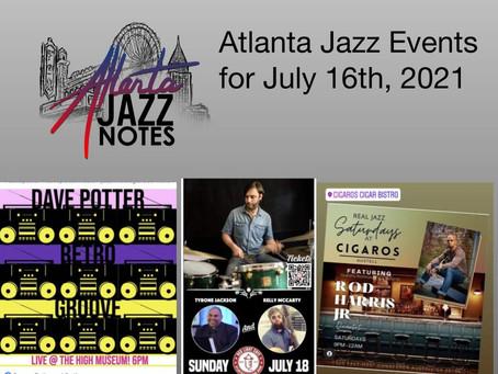 Atlanta Jazz Listings for 7/16/21