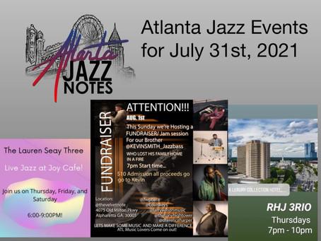 Atlanta Jazz Listings for 7/31/21