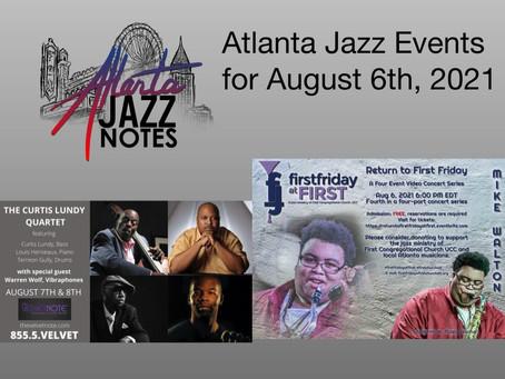 Atlanta Jazz Listings for 8/6/21