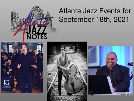Atlanta Jazz Listings for 9/18/21