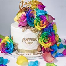 Rainbow Floral Birthday Cake