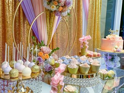 Pink pastel cake table setup