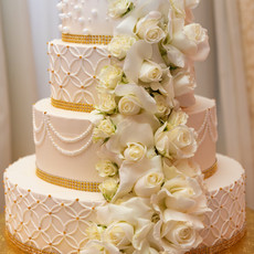 All white Wedding Cake with Floral Detail