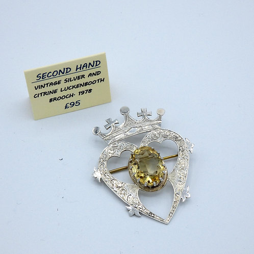 Silver, stone set Luckenbooth brooch.