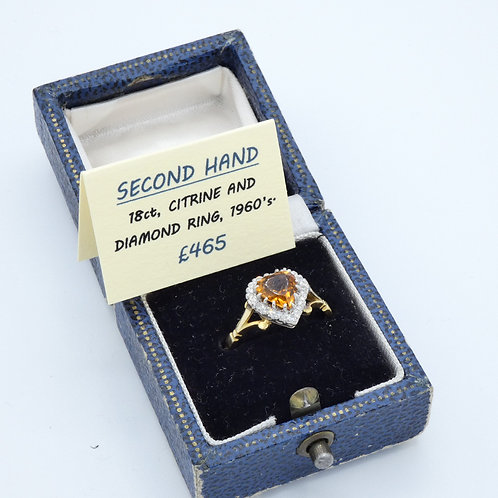 18ct, diamond and citrine ring.