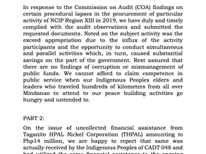 STATEMENT ON THE COA AUDIT FINDINGS REGARDING NCIP FOR THE YEAR ENDED DECEMBER 31, 2020