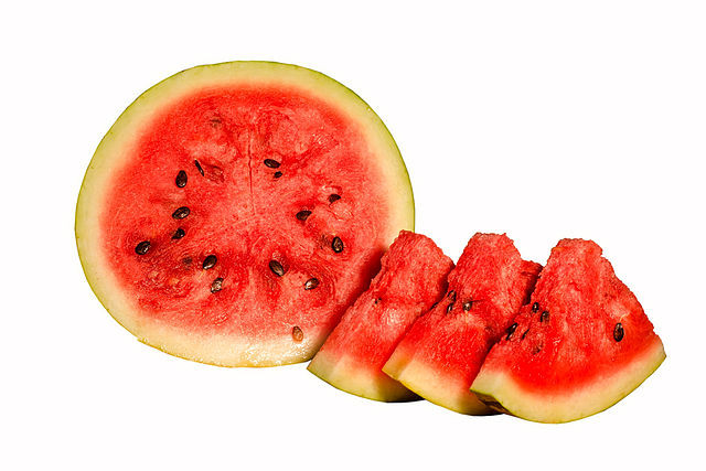 Watermelong - green on the outside, red on the inside. By Prathyush Thomas - Own work, GFDL 1.2, https://commons.wikimedia.org/w/index.php?curid=41323824