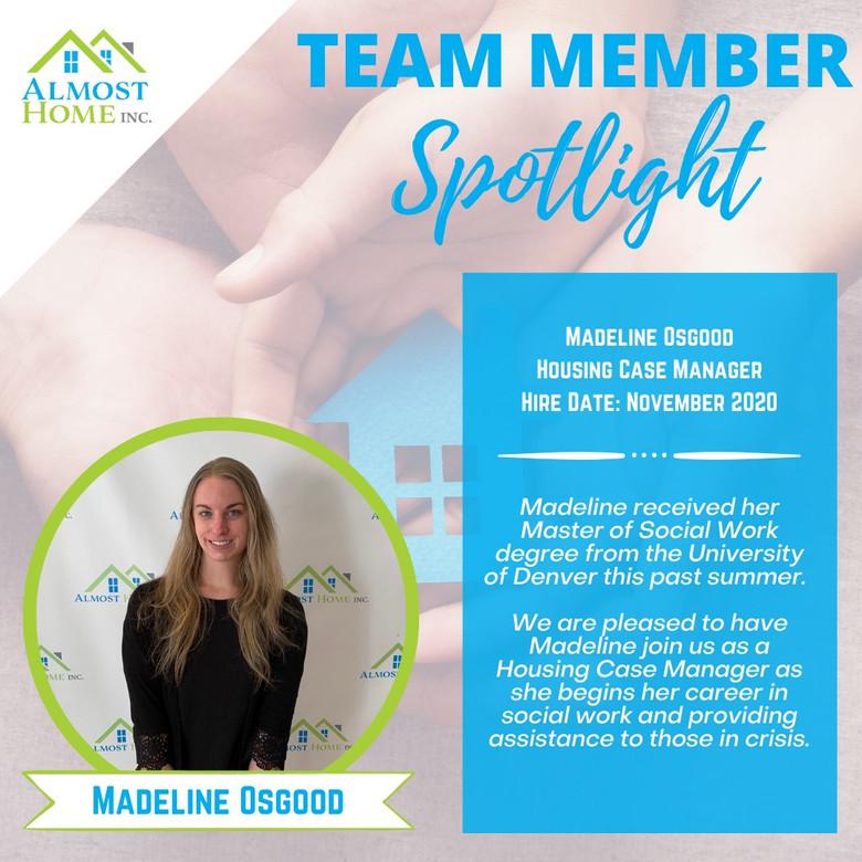 Team Member Spotlight - Madeline Osgood, Housing Case Manager