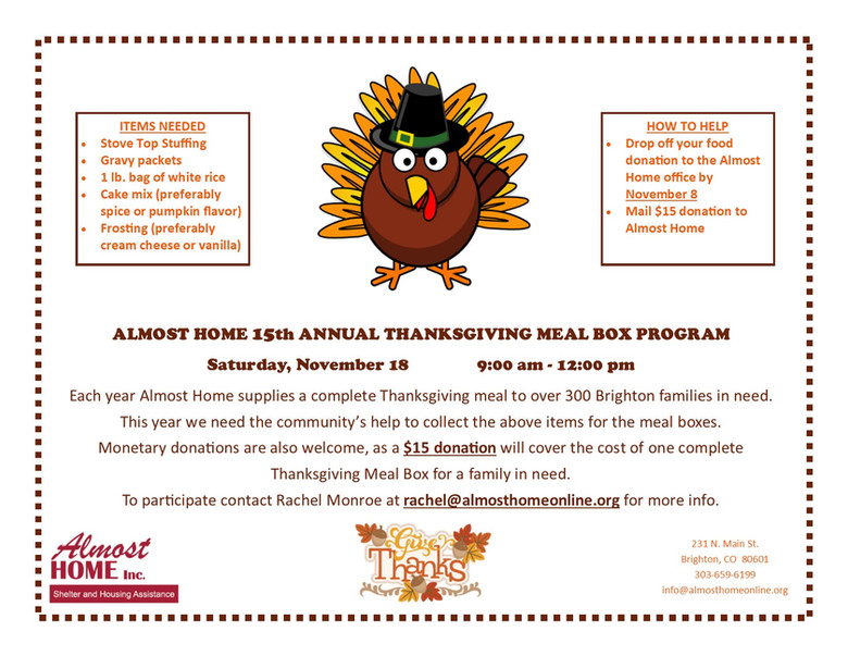 15th Annual Thanksgiving Meal Box Program