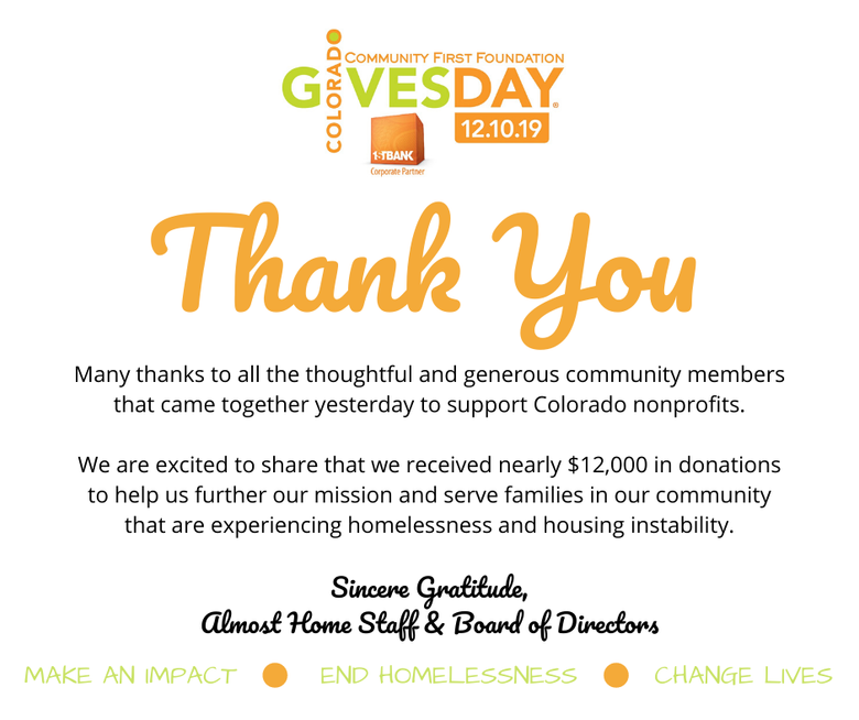 Colorado Gives Day Brings New Donors to Almost Home