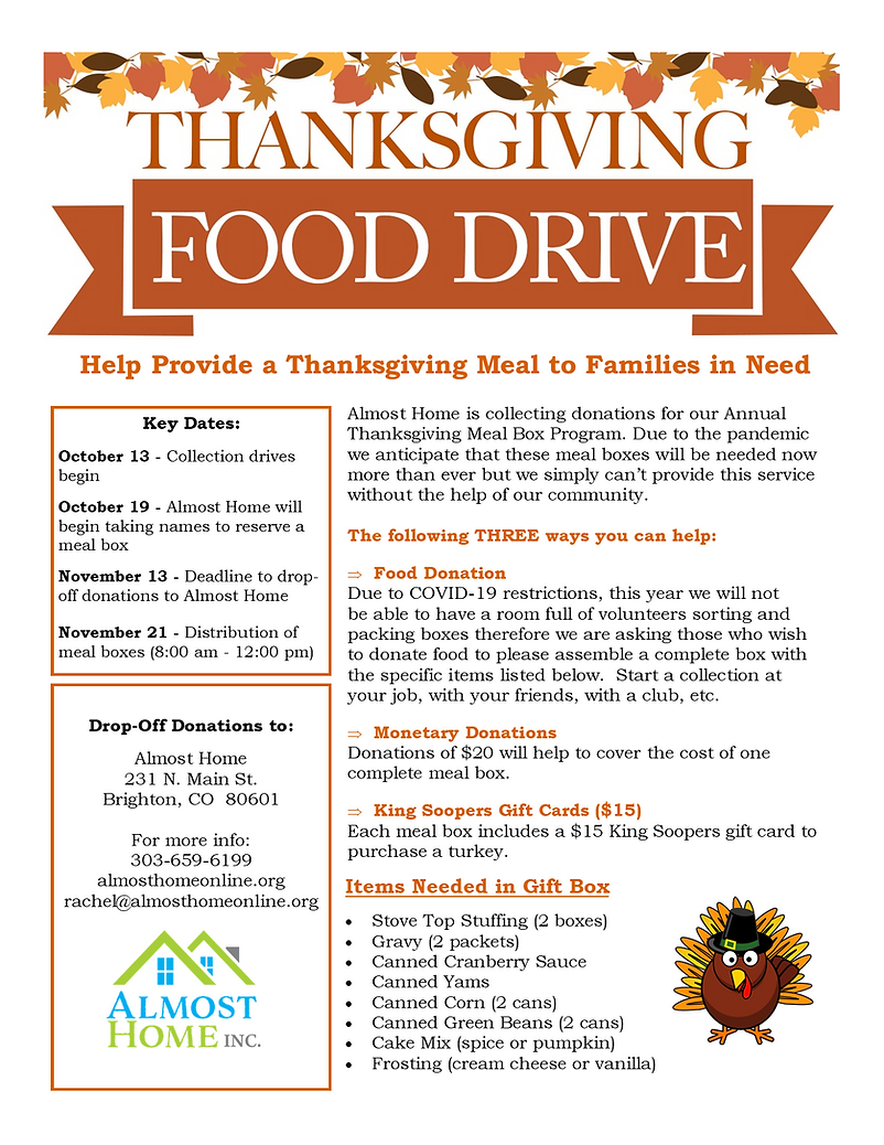 Thanksgiving Food Collection Drive Flyer