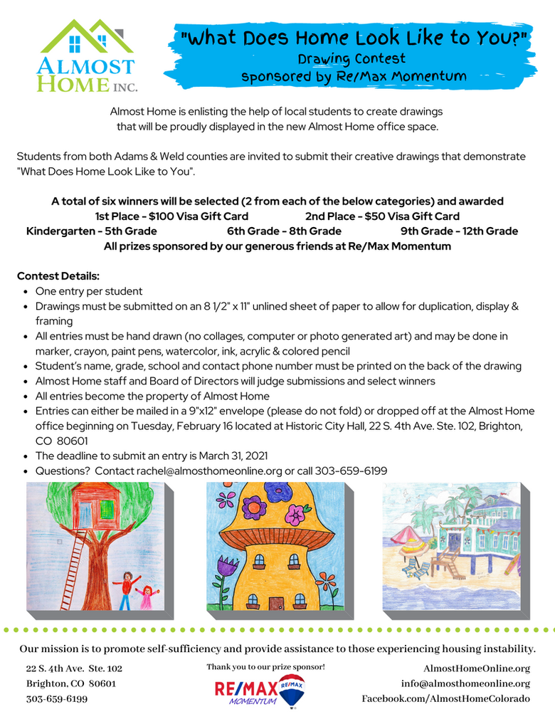 """Almost Home Seeks Submissions from Students for """"What Does Home Look Like to You"""" Drawing Contest"""