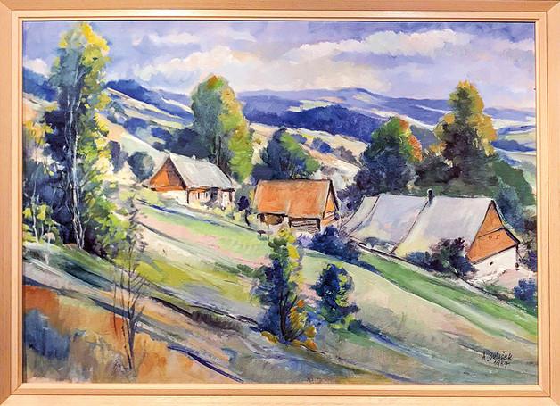 Č. 41 A. Bulušek / Horská vesnice / akvarel / rozměr 50 x 70