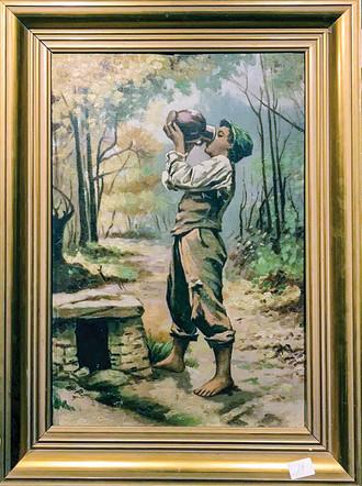 Č. 49 Autor neznámý / Žízeň / olej na kartonu / rozměr 56 x 38