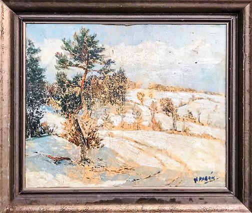 Č. 20 Miroslav Parák / Krajina / olej na desce / poškozená malba / rozměr 39 x 48