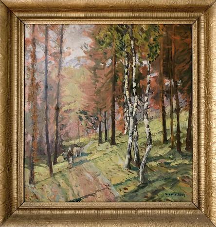 Č. 33 V. Kostelecký / Lesní cestou / olej na plátně / rozměr 50 x 65