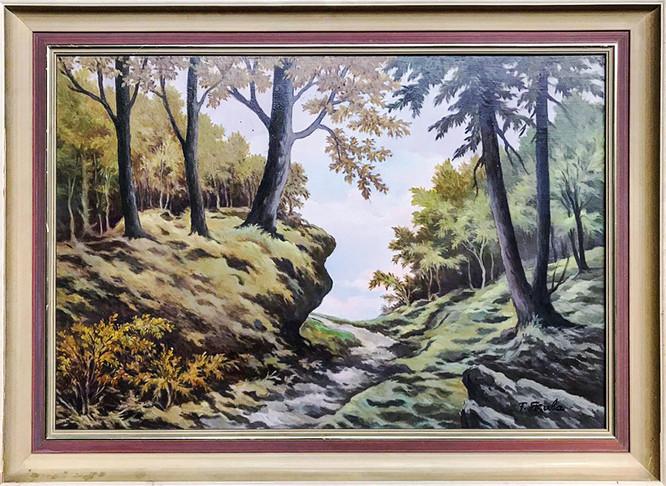 Č. 16 František M. Skula / Lesní úvoz / olej na desce / rozměr 51,5 x 75,5