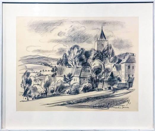 Č. 48  Svatopluk Janke / Vesnice Petrovice / kresba uhlem / rozměr 50 x 60