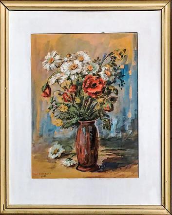 Č. 35 V. Čecháková / Váza s květinami / tempera / rozměr 50,5 x 40