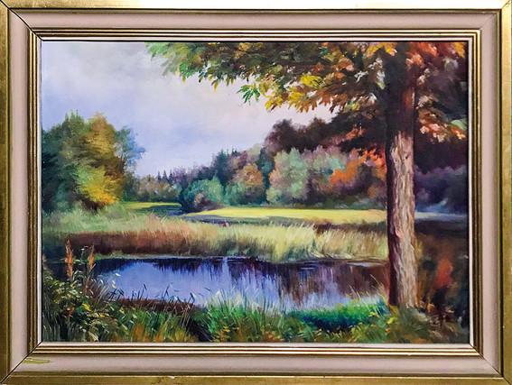 Č. 19 Alois Wolf / Jezero / olej na plátně / rozměr 44,5 x 63