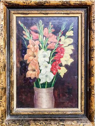 Č. 21 Autor neznámý / Květiny / olej na plátně / rozměr 49 x 33