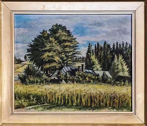 Č. 22 Vladimír Nohál / Krajina s domem / olej na plátně / rozměr 39,5 x 49