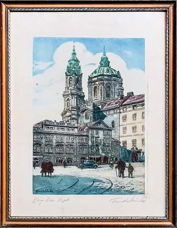 Č. 3 Emil Wänke / Praha Sv. Mikuláš / orig. barevný lept / rozměr 28 x 20