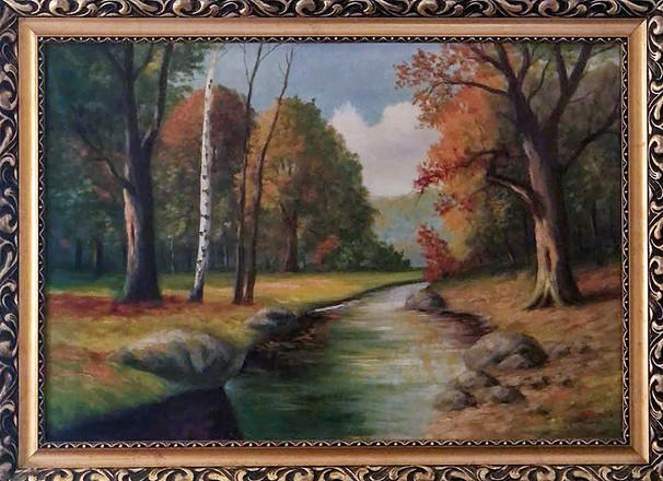Č. 36 Jaroslav Riedl / Podzimní řeka / olej na plátně / rozměr 67 x 98 cm