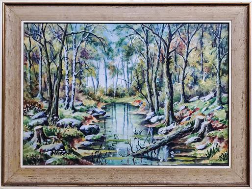 Č. 15 Autor neznámý / Lesní potok / akvarel / rozměr 43 x 61,5