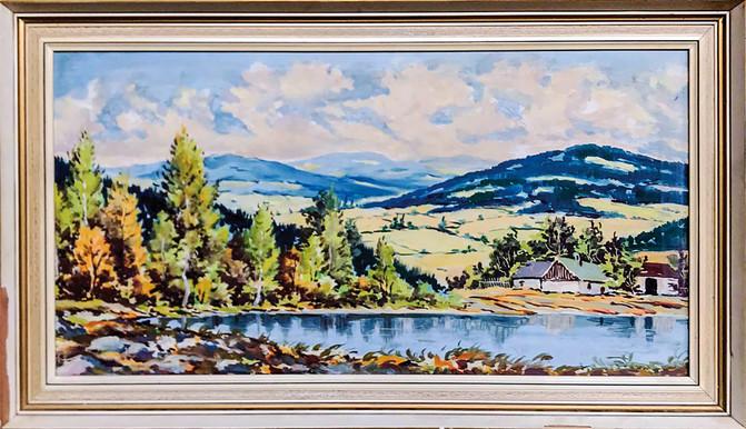 Č. 14 Autor neznámý / Krajina s rybníkem / olej na sololitu / rozměr 33 x 65