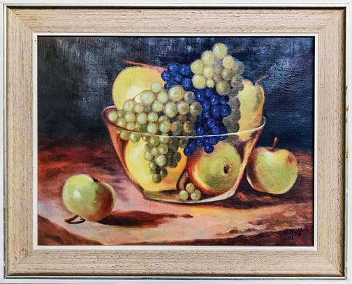 Č. 28 U. Walk / Mísa s ovocem / olej na desce / rozměr 38 x 50