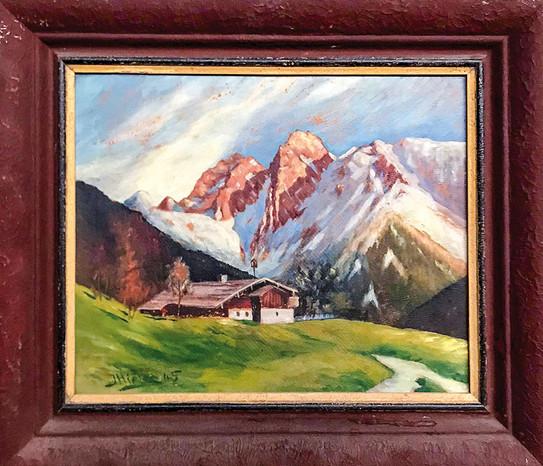 Č. 32 J. Hiršler / Pod horami / olej na desce / rozměr 33,5 x 41,5