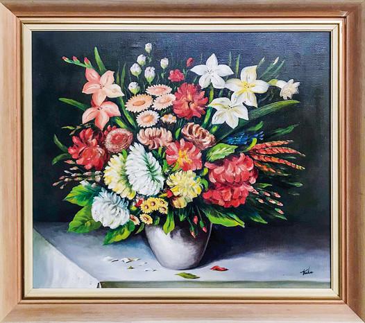 Č. 31 Jaromír Truksa / Váza s květinami / olej na plátně / rozměr 61 x 71