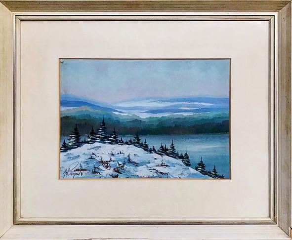 Č. 18 Nečitelná signatura / Mlha v údolí / olej na desce / zaskleno / rozměr 33,5 x 47