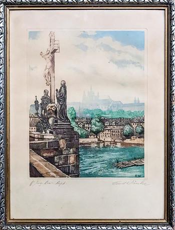 Č. 4 Emil Wänke / Město Praha / orig. barevný lept / rozměr 25,5 x 20,5