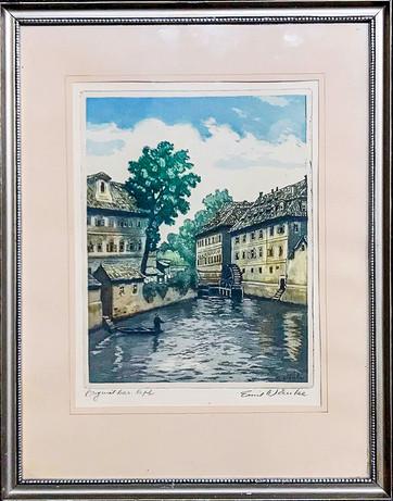 Č. 6 Emil Wänke / Město / orig. barevný lept / rozměr 39 x 22
